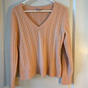 Qi Cashmere Peach 100%Cashmere Cableknit sweater M